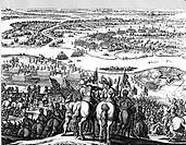 30 jähriger Krieg 1618 - 1648, Übergang der Schweden über den Rhein bei Oppenheim 1631, zeitgen. Stich  Schlacht, kampf, Formation schwedische Brigade...