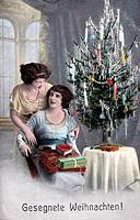 c. SG hist., Weihnachten, Frauen am Christbaum,  Originalpostkarte! Weihnachtsbaum,Geschenke,Gabentisch