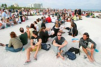People arranged as Picasso´s 1959 artwork for aerial photo in Greenpeace protest. Atlantic Shore. South Beach. Miami Beach. Florida. USA