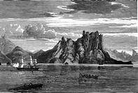 Geografie hist., Neuseeland, Landschaften, Nordostküste bei Bremhead, Maori - Boot und englisches Segelschiff vor der Küste, Kupferstich, 19. Jahrhund...