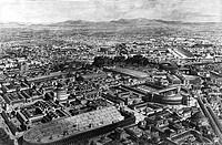 Italien hist.- Städte, Rome, Antike, Übersicht, Rekonstruktion der Stadt zur Zeit des Kaiser Aurelianus (270 - 275), Xylografie 19.JH.