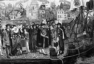 SG hist., Handel, Händler, Verhandlungen bei der Ankunft der ersten Zuckerladung in Antwerpen, 1508, Xylographie nach einem Gemälde v. Pierre Verhaert...