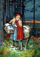 col. hist. Literatur, Märchen, ´Rotkäppchen´, um 1910  Original Postkarte roter umhang, mantel, rot, wolf, korb, wald Gebrüder Grimm Wald
