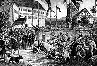 Ereignisse hist.- Revolution 1848/1849, Thüringen, Wartburgfest 12.6.1848 Xylografie 19.Jh. nach zeitgen. Zeichung von Fritz Bergen deutschland, Wartb...