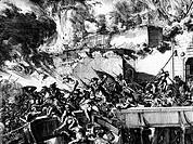 Ereignisse hist.- Türkisch-Österreichischer Krieg 1683 - 1689, Belagerung von Wien 1683, Ausfall  der Besatzung, zeitgenösischer Kupferstich  Türkenkr...