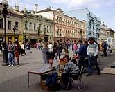 Geografie, Rußland, Moskau, Menschen, fliegende Händler an der Arbatskaja,   straßenverkäufer straßenverkauf verkauf handel souvenir stand