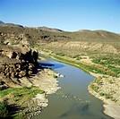 Geo., USA, Texas, El Camino del Rio,  Rio Grande westlich des Big Bend  Nationalparks,   fluss landschaft berge
