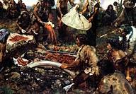 Vorzeit hist.- Menschen, Riten, Beerdigung eines Mammutjäger, Rekostruktion nach Funden aus Brünn 1891, Gemälde von Zdenek Burian KÜNSTLERRECHTE NICHT...