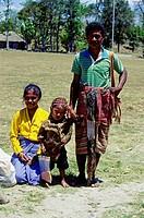 Menschen, Rassen, Familie, Indonesien, junge Familie mit Kind aus Niki Niki, Timor,