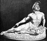 Achilleus, griech. Sagenheld, Marmorstatue von Ernst Herter in der kaiserlichen Burg zu Wien, ´Der sterbende Achilles´, Xylographie statue, marmor, na...