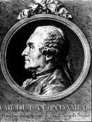 La Condamine, Charles Marie, 28.1.1701 - 4.2.1774, frz. Mathematiker und Forscher, Kupferstich von P. Choffard nach N. Cochin portrait, porträt, profi...