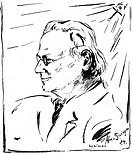 Franc', Raoul Heirnich, 21.5.1874 - 3.10.1943,  öster. Mikrobiologe, Porträt, Profil, Zeichnung von Alex v. Springer, Weimar 1934 KÜNSTLERRECHTE NICHT...