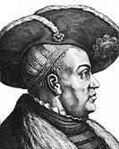 Joachim I. Nestor, 21.2.1484 - 11.7.1535,  Kurfürst von Brandenburg seit 9.1.1499, Porträt,  Profil, Stich 19. JH.   Hohenzollern, hist, Abschaffung d...