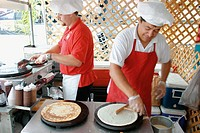 Crepe makers. FAB Fest-A Taste of the Beach. Lummus Park. Miami Beach. Florida. USA