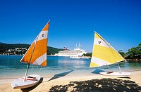Sailing boats and cruise in Ocho Rios. Jamaica