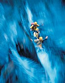 Canyoning, down, extreme, fun, glide, gliding, group, joke, sports, Three, water, waterfall, people