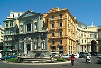 building, Campagna, church, construction, fountain, Italy, Europe, Naples, Piazza to Trieste e Trento, place, Spagno