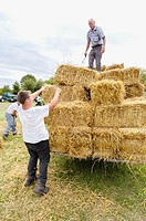 Farmers grain trashing and hay bailing methods (c. 1917) reenactment