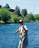 Fly fishing in Deschutes River. Oregon, USA