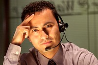 Portrait of man wearing headset