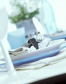Place setting with blue and white plates