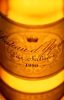 Close-up of a bottle of Chateau d´Yquem, 1990