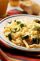Penne with courgettes and egg