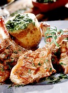 Barbecued lamb chops with herbs and baked potato (2)