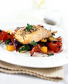 Salmon and fennel on Mediterranean vegetables