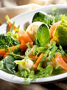 Spring vegetable salad with carrots and asparagus