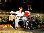 Man and handicapped woman in New Orleans, Louisiana