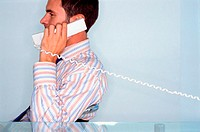 Man with telephone to his ear