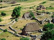 Teitos (typical dwellings). Braña de Mumián, Somiedo Natural Park. Asturias. Spain