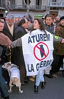 Demonstration against war in Iraq, 2003. Barcelona. Spain.