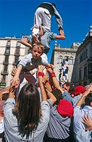 ´Castellers´ building human towers, a Catalan tradition. Barcelona. Spain