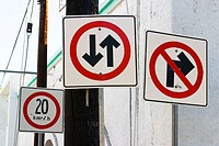 Traffic signs, two way traffic, no right turn, speed limit, kilometers per hour. Cabo San Lucas, Mexico