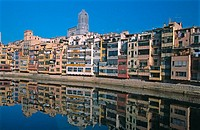 House facades by the river. Girona. Catalonia. Spain