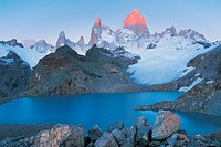 Lagos De Los Tres and Mt Fitzroy at Sunrise, Glacier National Park, Patagonia, Argentina