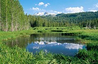 Hat lake in Lassen volcanic National Park, near Bumpass Mountain. Shasta County. California