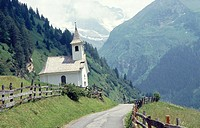 Church, mountainous landscape. Brenner area, Tyrol. Austria