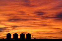 FV5183, Natural Moments Photography, Grain Silos at Sunrise near Didsbury, Alberta
