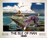 British Railways (London Midland Region) poster, showing a castle and jetty with a Manx cat in the foreground. 1017 x 1275mm. Artwork by Anthony Brand...