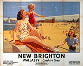 Poster produced for British Railways (BR), London Midland Region (LMR), promoting rail travel to the beaches of New Brighton - a district of Wallesey ...