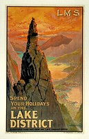 Poster produced for London, Midland & Scottish Railway (LMR) to promote rail travel to the Lake District, Cumbria. The poster shows a striking landsca...