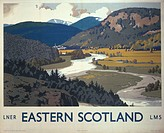 Poster produced for London & North Eastern Railway (LNER) and London, Midland & Scottish Railway (LMS) to promote rail travel to Royal Deeside in East...
