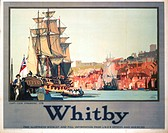 Poster produced by London & North Eastern Railway (LNER) to promote rail services to Whitby, North Yorkshire. The poster is illustrated with a scene o...