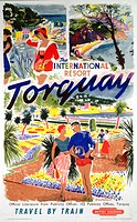 Poster produced by British Railways (BR) to promote train services to Torquay in Devon. Artwork by Brookshaw.