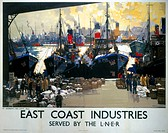 Poster produced for the London & North Eastern Railway (LNER), showing a view of St Andrew´s Fish Dock, Hull, where wooden crates of fish are being un...