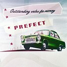 Cinema advertisement produced for the Ford Motor Company promoting the Ford Prefect - ´outstanding value for money!´ The Prefect, like Ford's Anglia a...