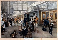 Colour print from an original oil painting by Robert Alexander Hillingford (1828-1904), showing troops saying farewell to their families at Waterloo S...